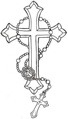 Neat Tattoo'S, Tattoo'S Idea 3, Crosses With Rosary Tattoo'S, Religious…