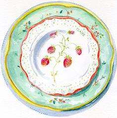 Still Life Kitchen Decor of Original Watercolor Painting -- Vintage Plates -- Fraise. via Etsy.