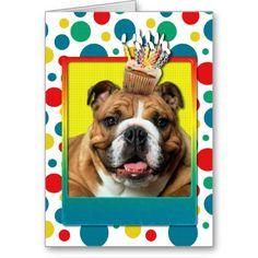 Birthday Cupcake - Bulldog - Dark Cards