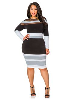 Mesh Yoke Tricolor Dress - Ashley Stewart