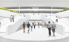 Look Inside Apple's Spaceship Headquarters With 24 All-New Renderings | Employees who arrive by bus will enter at the Corporate Transit Center, with a walkway flanked by two Apple Store-white staircases. | Credit: City of Cupertino | From Wired.com