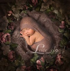 Digital backdrop background newborn baby girl  vintage retro brown flowers  / 105* by LaceCloudStudio on Etsy