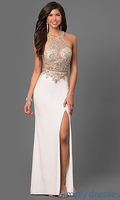 Shop beaded-bodice long prom dresses at Simply Dresses. Sheer-illusion La Femme designer formal dresses with high-necklines, cut outs and slits.