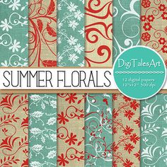 """Floral swirls linen digital paper """"Summer Florals"""" with turquoise, red and white patterns.  Perfect for scrapbooking, wedding, making cards, invitations, collages, crafts, web graphics, and so much more. Digital paper pack by DigiTalesArt."""