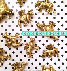 #DIY #GOLD ANIMALS & DINO #CANDLEHOLDERS by Sandi Devenny #creativelycurated #blogged #animals #parties #partydecor