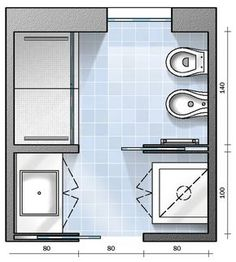 Per un bagno di 6 mq, di forma approssimativamente quadrata, vi diamo tre diverse soluzioni. Ecco la prima, che prevede una maxi doccia e lo spazio per la lavatrice. Seguiteci nei prossimi appuntamenti per vedere le altre possibilità.