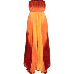 Alice + Olivia Uma ombré pleated silk maxi dress found on Polyvore
