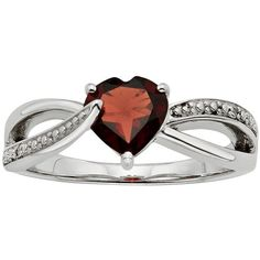 Garnet & Diamond Accent Sterling Silver Heart Bypass Ring (Red) ($50) ❤ liked on Polyvore featuring jewelry, rings, red, womens jewellery, garnet heart ring, diamond accent rings, sterling silver rings and garnet ring