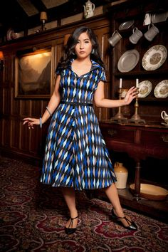 Pinup Couture Colette Dress in Blue House Harlequin - Clothing XS - 4X | Pinup Girl Clothing