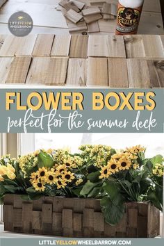 Quick and easy flower boxes that you can build in an hour.  These rustic planters would look great on a deck or summer porch.  Check out the tutorial on the blog.  #planters #containergarden #deckideas #porchideas #summerflowers #windowboxes