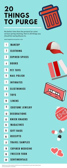Happily Ever Parker: 20 Things to Purge, organize, organization, cleaning tips, spring cleaning - Diy Crafts for The Home Spring Cleaning Checklist, Deep Cleaning Tips, Cleaning Solutions, Cleaning Hacks, Organizing Tips, Room Cleaning Tips, Cleaning Lists, Decluttering Ideas, Fall Cleaning