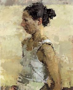 This an oil figure painting. I really like how the color give you this push-pull movement. I like how the face isn't really visible but you can still see the face from far away. I wouldn't do anything to it