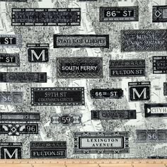 New York State Of Mind Subway Black/White from @fabricdotcom  Designed by Maria Kalinowski - Kanvas Studios in association with Benartex, this cotton print features a New York City subway motif.  Perfect for quilting, apparel and home décor accents.  Colors include black, white and grey.
