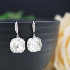 Swarovski square crystal Bridal Earrings - Earrings Nation