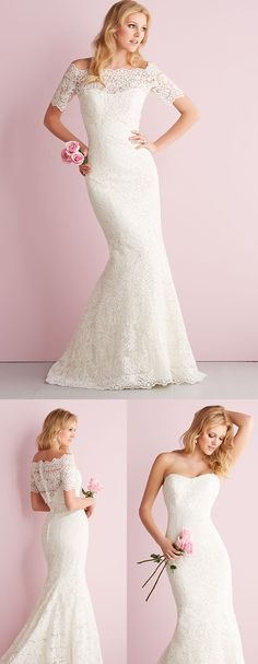 Removable bolero for two different bridal looks from Allure Bridals. #weddingdress