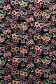 Chuchulocos Alexander Henry day of the dead fabric Dia de Los Muertos. $9.50, via Etsy.