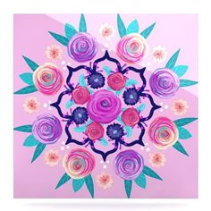 "East Urban Home 'Expressive Blooms Mandala' Painting Print on Metal Size: 10"" H x 10"" W x 1"" D"