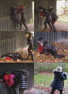 KT.8 My jacket - your jacket. Teil 2  Die Kontrahentinnen begegnen sich kurz darauf ein weiteres Mal, wobei dem Opfer nun die zweite Jacke genommen wird, wofür sie als Ersatz die liegen gelassene und vergessene rote Jacke der Angreiferin behält. Cliplänge: Teil 1 und 2 - 12.22 Minuten
