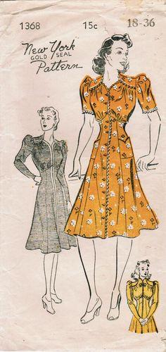 Wonderful mid and long sleeved 1940s daywear dresses. #vintage #sewing #pattern #1940s