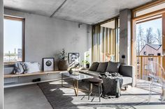 Wood and concrete studio apartment