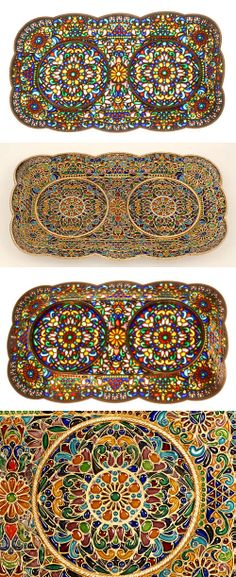 A Russian gilded silver and plique-a-jour enamel tray , circa 1900. The rectangular tray with reticulated border is worked in an elaborate overall plique-a-jour desing.