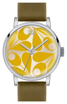 Orla Kiely 'Patricia' Leather Strap Watch, 29mm available at #Nordstrom