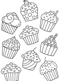 Cupcakes, sorvetes, bolos e doces (Cupcakes, ice creams, cakes and sweets) Art Drawings For Kids, Doodle Drawings, Drawing For Kids, Doodle Art, Easy Drawings, Art For Kids, Cupcake Coloring Pages, Colouring Pages, Adult Coloring Pages