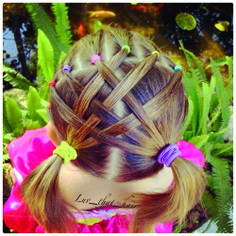 """cute """"basket-weave"""" hairdo with bright rubber bands...great for Easter or just for fun"""