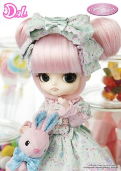 Dal Joujou ANGELIC PRETTY $114.95  - The anticipated 2nd series, following the popular 1st series from August, 2009  - Perfectly portrays Angelic Pretty's Charm  - An outfit from Dreamy Dollhouse  - Pastel Pink and Peppermint Green brings out the sweetness  - Adorable large pigtails in a bun and pink cheeks❤  - Her large bunny bag is a statement piece
