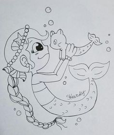 Mermaid and Catfish. A late night doodle. My inking is terrible so I might do some in the computer..  Find more cool stuff on my Facebook, Twitter, YouTube, DeviantArt, and RedBubble.com. You can find me at PenguinFreakSH3 (Stephanie Hardy)