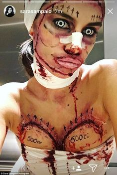 Victoria's Secret's Sara Sampaio channels Little Red Riding Hood Plastic surgery horror! The Portuguese model's breast were marked with cc' instructions for breast implants while she flaunted a supersized pout Maquillaje Halloween, Halloween Makeup, Halloween Costumes, Halloween Outfits, Red Riding Hood Makeup, Plastic Surgery Gone Wrong, Plastic Surgery Procedures, Sara Sampaio, Halloween Looks