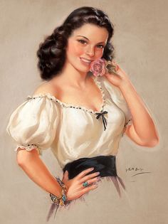 So charmingly pretty! #pinup #girl #vintage #art #Jules_Erbit