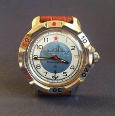 Russian Military Watch Vostok Komandirskie by mensVintageWatches Vostok Watch, Black Clocks, Mechanical Watch, Watch Brands, Vintage Watches, Real Leather, Watches For Men, Vintage Items, Military
