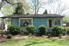 Luston prefab houses were made of enamel steel tiles. Starting in 1949, about 2,500 were made, three of them in my hometown of Greensboro, NC. This one on Lawndale Dr. is one of only about 200 blue Lustrons left. Another is on Dellwood Dr., and a third, on Myers Lane, was torn down in 2000.