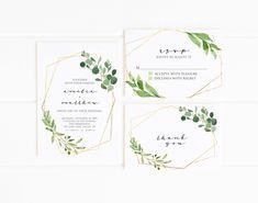 Minimalistische bruiloft uitnodiging afdrukbare, geometrische bruiloft Suite, groen en goud, moderne bruiloft nodigt en RSVP kaart, eenvoudig en schoon Overeenkomen met de datum opslaan: www.etsy.com/listing/568519006 LET OP: Dit object is een digitaal bestand. U koopt alleen een