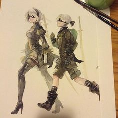 Instagram media by saboten_33 - 2B and 9S from Nier: Automata. Somehow i mashed their names together and called 9S, 9B by accident in 'my story' orz sorry 9S...
