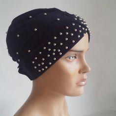 navy blue headcovering - headband - chemo hat - head scarf -  tichel - hijab scarf - muslim scarves - pearl headcovering - turban - sinar
