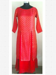 Red brocade kurta with box slits pattern. Tuned with red satin georgette long skirt.  Can be customized in any color. To book your order/any query, contact us: call/whatsapp on +91 9833617147.  Like us? Follow us! https://m.facebook.com/VastranDecorbySoumiyaKhanna  #Fashion #fashionista #fashionblogger #bollywoodfashion #indian #bollywood #stylediva #diva #pretty #boutique #designer #clothing #clothingline #clothingbrand #womenswear #womensbrand #womensfashion #garments #clothes…