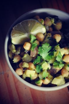 easy garbanzo salad with mango cumin salad dressing @Vianney Rodriguez