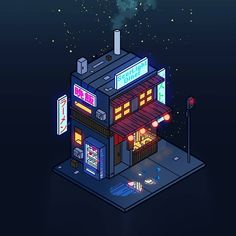 Doodle 76 'Cyberpunk Juusu' Welcome to SeerLight Diner how may I take your order? We serve lots of tasty magical foods. These mini drink buildings take a long time but they're really fun to do . Building Illustration, Japon Illustration, Website Illustration, Isometric Art, Isometric Design, Game Design, Pixel Art, Posca Art, Cyberpunk City