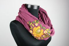 Items similar to Woman infinity scarf - circle scarf - loop scarf - hand embroidered - matyo embroidery - burgundy with mustard yellow on Etsy Loop Scarf, Circle Scarf, Old Hands, Wash Bags, Mustard Yellow, Womens Scarves, Flower Patterns, Fabric Design, Infinity Scarfs