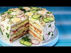Festliche Sandwichtorte Festive sandwiches, a great recipe from the cheese category. Party Finger Foods, Party Snacks, Sandwich Torte, Sandwich Ideas, Good Food, Yummy Food, Party Buffet, Wrap Sandwiches, High Tea