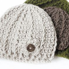 """Crochet Flowers Easy Crochet Swirl Hat Pattern - I am so happy to be able to finally release my newest free crochet beanie pattern the """"Swirl Hat"""" which is available in three sizes! I've also added a crochet flower with a button for those who Beanie Pattern Free, Crochet Beanie Pattern, Crochet Flower Patterns, Crochet Flowers, Chevron Crochet, Headband Pattern, Crochet Designs, Bonnet Crochet, Crochet Baby Hats"""