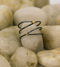 Spiral Drop Gold and Silver Ring by Lara Ismael Jewelry