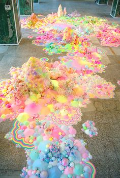 pip & pop - Candyland Landscapes installation by Aussie artist Tanya Schultz using sugar, glitter and plastic toys.