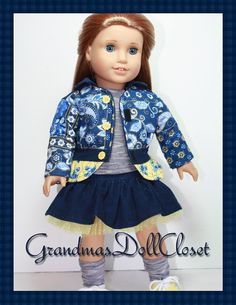 American girl doll clothes 18 inch doll by GrandmasDollCloset. Patterns available at pixiefaire.com.