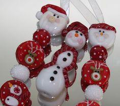 CK Lampwork Beads Red Reindeer Set of 18 Beads SRA Handmade | eBay
