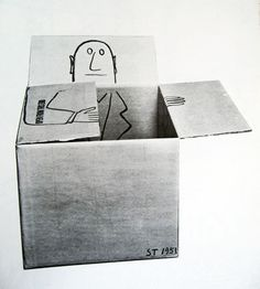 Saul Steinberg 1950s. Really fun way of playing with packaging.