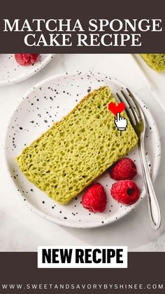 Matcha Sponge Cake Recipe, Sponge Cake Recipes, Vegan Recipes Easy, New Recipes, Baking Recipes, Homemade Cakes, Healthy Desserts, Yummy Cakes, Appetizer Recipes