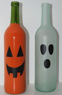 Wine Bottle Halloween Decor: Drop in a glow stick and voila! Easy for the porch and they won't go bad like pumpkins.  And the way I go through wine I could make a whole pumpkin village!